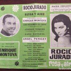 Carteles Espectáculos: CARTEL TEATRO CERVANTES, MÁLAGA. 1968. ROSA Y AIRE. ROCÍO JURADO. 21 X 26 CMS.. Lote 147531170