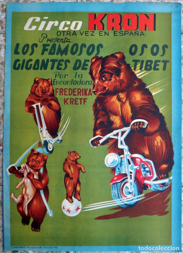 CARTEL CIRCO KRON, LITOGRAFIA , LOS FAMOSOS OSOS DEL TIBET , 1960 , ORIGINAL (Coleccionismo - Carteles Gran Formato - Carteles Circo, Magia y Espectáculos)
