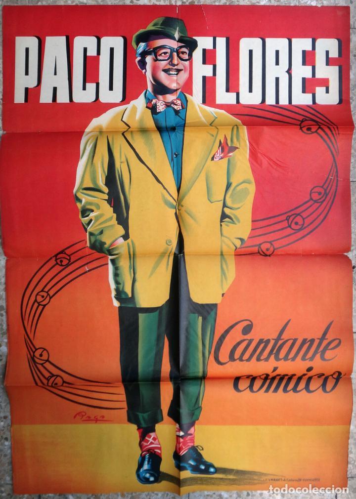 CARTEL CIRCO , PACO FLORES CANTANTE COMICO , LITOGRAFIA , ILUSTRADOR RAGA , 1959 , ORIGINAL (Coleccionismo - Carteles Gran Formato - Carteles Circo, Magia y Espectáculos)