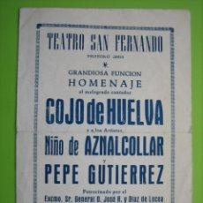 Carteles Espectáculos: ANTIGU PROGRAMA FLAMENCO 1954. Lote 148231278