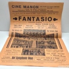 Carteles Espectáculos: ANTIGUO CARTEL ESPECTACULO FANTASIO - CINE MANON BARCELONA AÑO 1935 - ORIGINAL . Lote 149209902