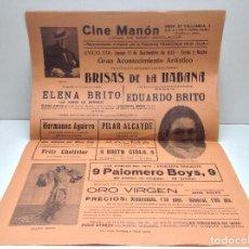 Carteles Espectáculos: ANTIGUO CARTEL ESPECTACULO BRISAS DE LA HABANA - CINE MANON BARCELONA AÑO 1935 - ORIGINAL . Lote 149210658