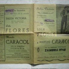 Carteles Espectáculos: ANTIGUO CARTEL DE ESPECTÁCULO. CARTEL CANTE FLAMENCO. LOLA DLORES Y MANOLO CARACOL. Lote 149234778