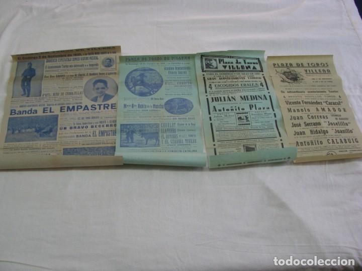 LOTE DE 4 CARTELES PLAZA DE TOROS DE VILLENA AÑOS 1930,S (Coleccionismo - Carteles Gran Formato - Carteles Circo, Magia y Espectáculos)