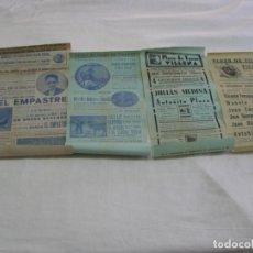 Carteles Espectáculos: LOTE DE 4 CARTELES PLAZA DE TOROS DE VILLENA AÑOS 1930,S. Lote 176344865