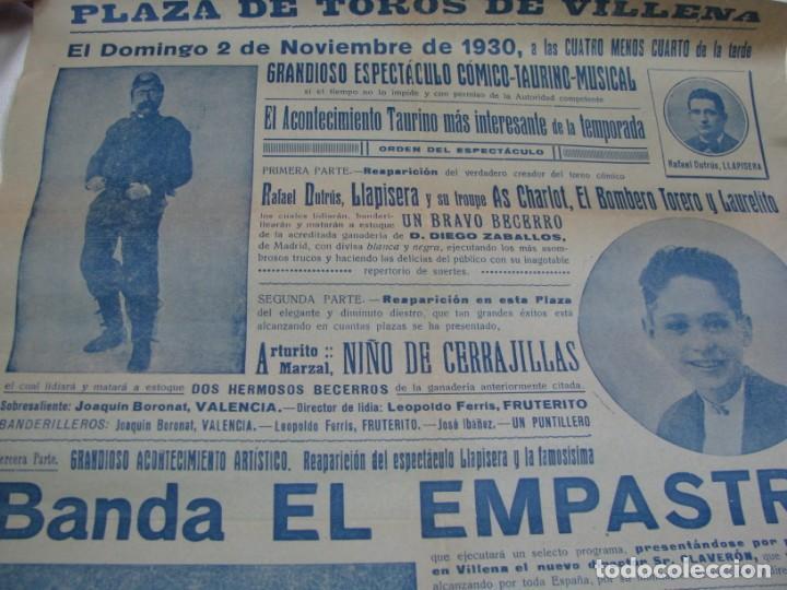 Carteles Espectáculos: LOTE DE 4 CARTELES PLAZA DE TOROS DE VILLENA AÑOS 1930,S - Foto 2 - 176344865