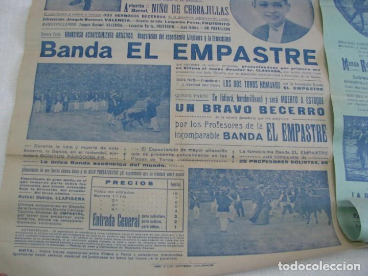 Carteles Espectáculos: LOTE DE 4 CARTELES PLAZA DE TOROS DE VILLENA AÑOS 1930,S - Foto 3 - 176344865