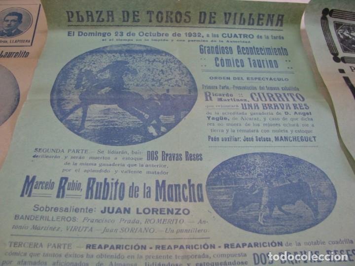Carteles Espectáculos: LOTE DE 4 CARTELES PLAZA DE TOROS DE VILLENA AÑOS 1930,S - Foto 4 - 176344865