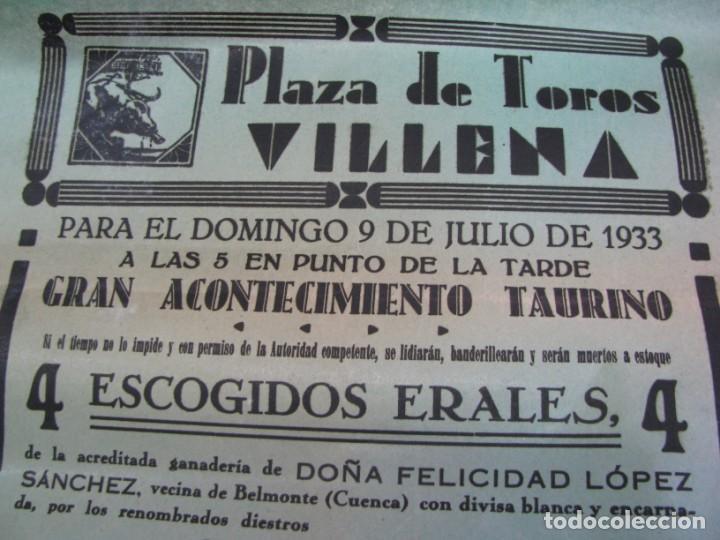 Carteles Espectáculos: LOTE DE 4 CARTELES PLAZA DE TOROS DE VILLENA AÑOS 1930,S - Foto 6 - 176344865