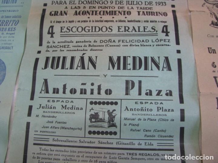 Carteles Espectáculos: LOTE DE 4 CARTELES PLAZA DE TOROS DE VILLENA AÑOS 1930,S - Foto 7 - 176344865