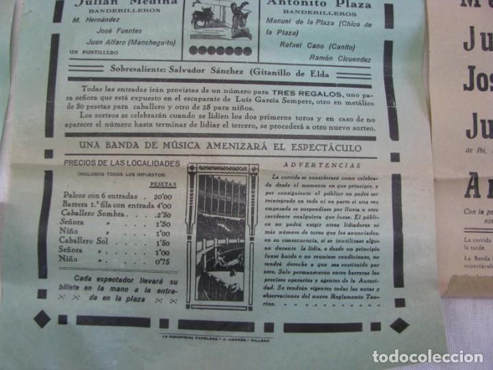 Carteles Espectáculos: LOTE DE 4 CARTELES PLAZA DE TOROS DE VILLENA AÑOS 1930,S - Foto 8 - 176344865