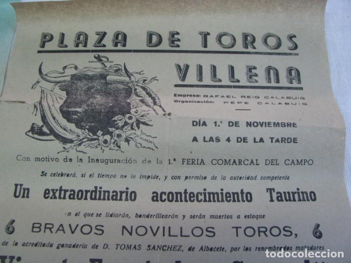 Carteles Espectáculos: LOTE DE 4 CARTELES PLAZA DE TOROS DE VILLENA AÑOS 1930,S - Foto 9 - 176344865
