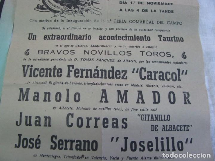 Carteles Espectáculos: LOTE DE 4 CARTELES PLAZA DE TOROS DE VILLENA AÑOS 1930,S - Foto 10 - 176344865