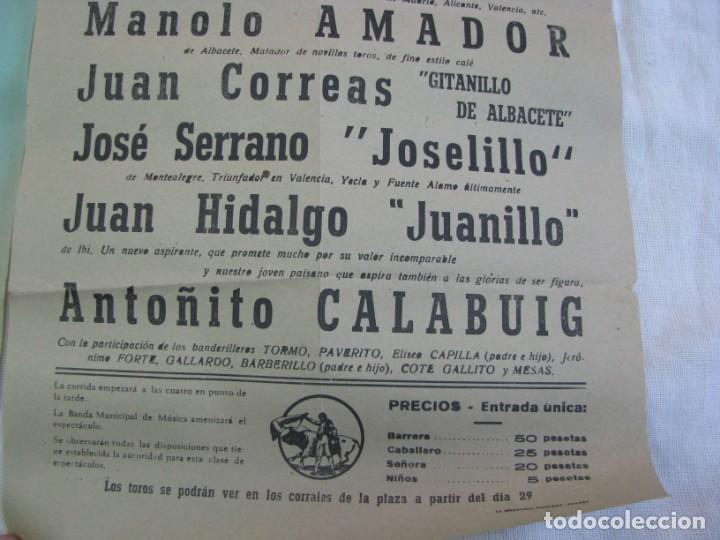 Carteles Espectáculos: LOTE DE 4 CARTELES PLAZA DE TOROS DE VILLENA AÑOS 1930,S - Foto 11 - 176344865
