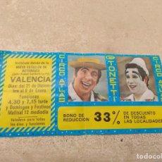 Carteles Espectáculos: ENTRADA - BONO REDUCCIÓN CIRCO ATLAS - HERMANOS TONETTI - VALENCIA 1977 -. Lote 158720706
