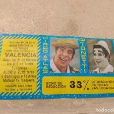 Carteles Espectáculos: ENTRADA - BONO REDUCCIÓN CIRCO ATLAS - HERMANOS TONETTI - VALENCIA 1977 -. Lote 158721178