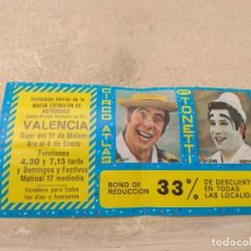 Carteles Espectáculos: ENTRADA - BONO REDUCCIÓN CIRCO ATLAS - HERMANOS TONETTI - VALENCIA 1977 -. Lote 158721406