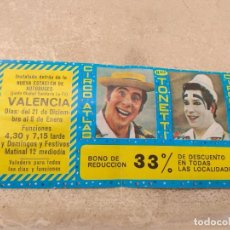 Carteles Espectáculos: ENTRADA - BONO REDUCCIÓN CIRCO ATLAS - HERMANOS TONETTI - VALENCIA 1977 -. Lote 158721618