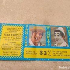 Carteles Espectáculos: ENTRADA - BONO REDUCCIÓN CIRCO ATLAS - HERMANOS TONETTI - VALENCIA 1977 -. Lote 158721802