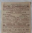 Carteles Espectáculos: TEATRE CONSERVATORI MANRESA MARC DE 1937. ( GUERRA CIVIL ). ZARZUELA- ENRIC TORRIJOS. Lote 160767302