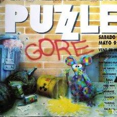 Carteles Espectáculos: CARTEL ORIGINAL FIESTA II ANIVERSARIO DISCOTECA - PUZZLE -GORE - SABDO 9 MAYO 1992 TAMAÑO 64X64 CMS. Lote 167477365