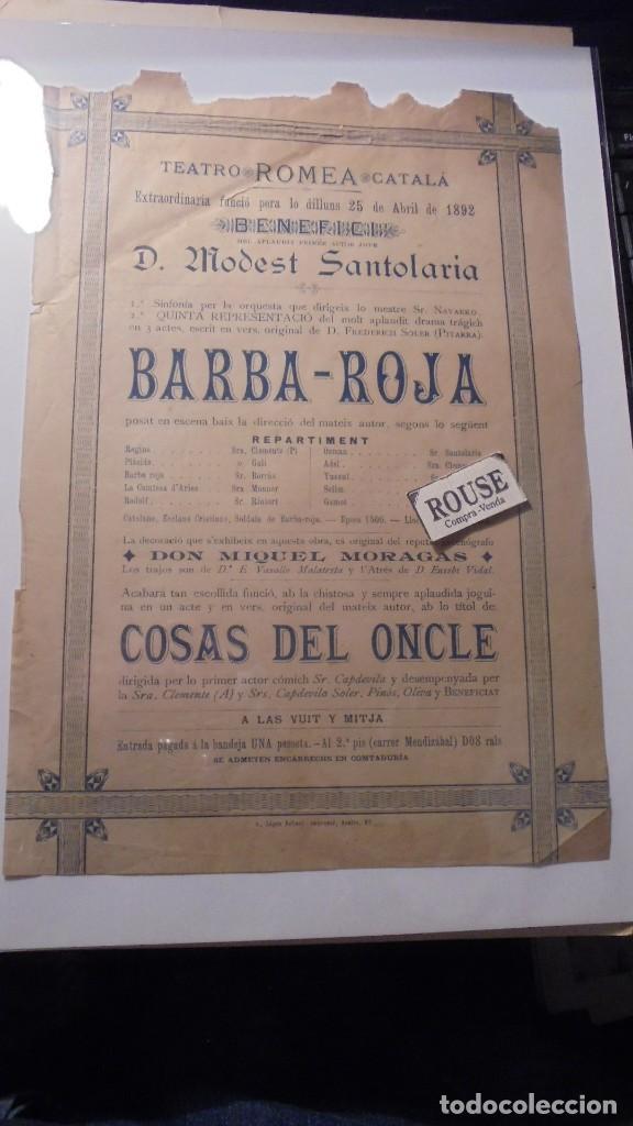 ANTIGUO CARTEL- BARCELONA /TEATRO - TEATRO ROMEA CATALÁ 25 ABRIL 1892 A BENEFICI DEL PRIMER ACTOR (Coleccionismo - Carteles Gran Formato - Carteles Circo, Magia y Espectáculos)