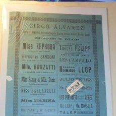 Carteles Espectáculos: ANTIGUO CARTEL CIRCO / BARCELONA 1892 CIRCO ÁLVAREZ DIRC. C.LLOP ,LISTA DEL PERSONAL DE LA GRAN COM . Lote 169585312