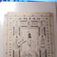 Carteles Espectáculos: ANTIGUO CARTEL - CIRCO - BARCELONA 1892- ARISO , PREMIER DEMICYCLISTE - CHAMPION CYCLISTE SEUL AU . Lote 169585788