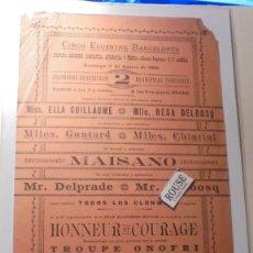 Carteles Espectáculos: ANTIGUO CARTEL CIRCO - BARCELONA 3 AGOSTO 1890 CIRCO ECUESTRE BARCELONES COMPAÑIA ECUESTRE . GIMNAST. Lote 169592924