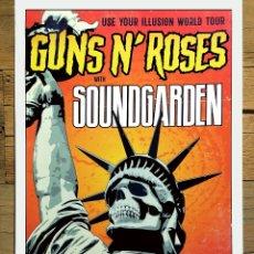 Carteles Espectáculos: POSTER - GUNS N' ROSES -CON - SOUNDGARDEN - TOUR 27 PAISES 194 SHOWS - AÑO 1991.TAMAÑO 47X33 CMS. Lote 172256293