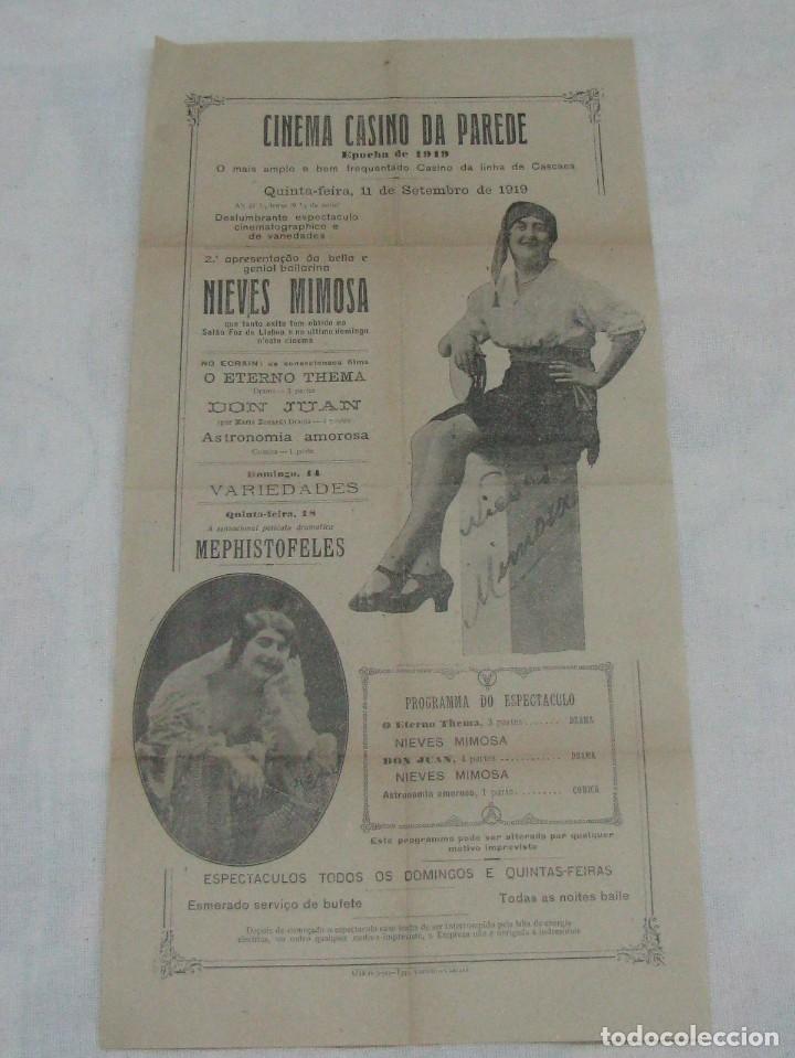 CARTEL CINEMA CASINO DA PAREDE. BAILARINA NIEVES MIMOSA DON JUAN ASTRONOMÍA AMOROSA. AÑO 1919 (Coleccionismo - Carteles Gran Formato - Carteles Circo, Magia y Espectáculos)