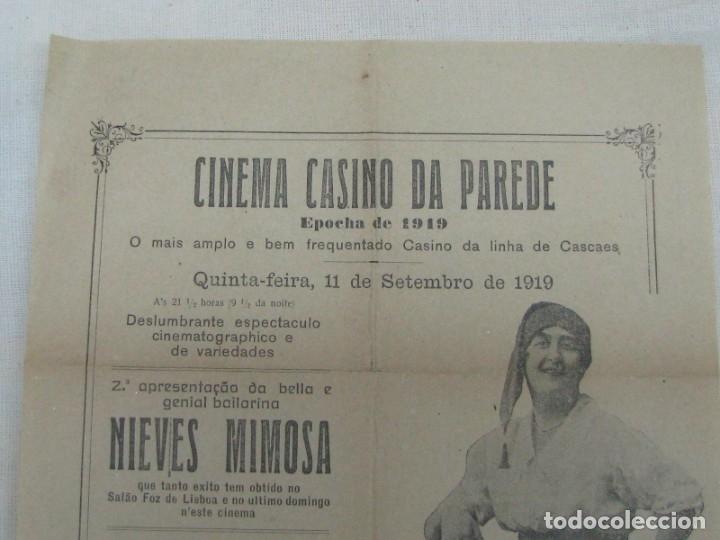 Carteles Espectáculos: CARTEL CINEMA CASINO DA PAREDE. BAILARINA NIEVES MIMOSA DON JUAN ASTRONOMÍA AMOROSA. AÑO 1919 - Foto 2 - 176986197