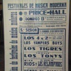 Carteles Espectáculos: CARTEL ORIGINAL DE LA V SESIÓN DE LOS FESTIVALES DE MÚSICA MODERNA DEL PRICE 13/01/1963. UNICO. Lote 178675818