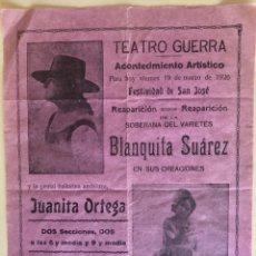 Carteles Espectáculos: LORCA- MURCIA- TEATRO GUERRA- CARTEL 1.926 VARIETES. Lote 180106638