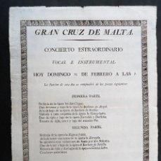 Carteles Espectáculos: MADRID.TEATRO.CAFE CONCIERTO.FONDA.'GRAN CRUZ DE MALTA' CARTEL. [1820] 43X31CM. ¡¡RARISIMO!!. Lote 184015743