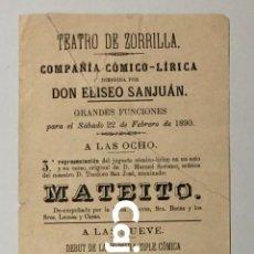 Carteles Espectáculos: CARTEL TEATRO DE ZORRILLA - VALLADOLID (1890) . Lote 187409108