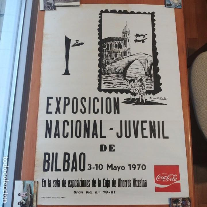 BILBAO 1970: 1ª EXPOSICION NACIONAL JUVENIL - CAJA AHORROS VIZCAINA / FIRMA: M. SAITUA (Coleccionismo - Carteles Gran Formato - Carteles Circo, Magia y Espectáculos)
