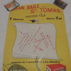 Carteles Espectáculos: CARTEL BILBAO 1967: ARIZONA CLUB. BAILE DE SANTO TOMAS / ACTUACION FRANCO ROBINI - LOS ALTAMIRA. Lote 189327786