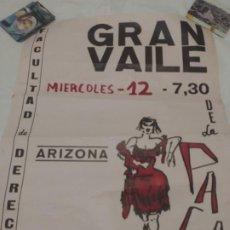 Carteles Espectáculos: CARTEL BILBAO 1965: ARIZONA CLUB. VAILE DE LA PACA - FACULTAD DE DERECHO / DIBUJO A MANO. Lote 189346878