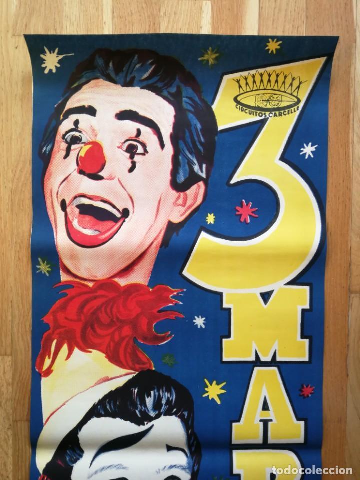 Carteles Espectáculos: Cartel póster 3 martini ( payasos de fama mundial) 39 cm x 111 cm muy buen estado 1961 - Foto 2 - 189489980