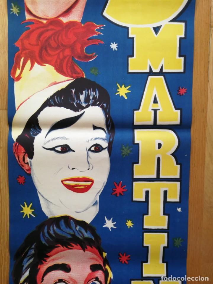 Carteles Espectáculos: Cartel póster 3 martini ( payasos de fama mundial) 39 cm x 111 cm muy buen estado 1961 - Foto 3 - 189489980