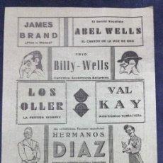 Carteles Espectáculos: FOLLETO CIRCO IMPERIAL, PLAZA DE TOROS DE LAS ARENAS. AÑO 1945, PAYASOS HERMANOS DIAZ. LING-FU. Lote 190514291