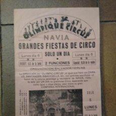Affiches Spectacles: OLIMPIQUE CIRCUS. NAVIA ASTURIAS. FIESTAS DE CIRCO. SALVADOR HERVÁS.. Lote 192858467