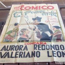 Carteles Espectáculos: CARTEL TEATRO COMICO EL PADRE PITILLO -COMPAÑIA AURORA REDONDO -VALERIANO LEON DIBUJANTE F.FRESNO. Lote 192922043