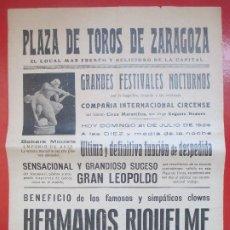 Affiches Spectacles: CARTEL CIRCO PLAZA TOROS ZARAGOZA 1929 HERMANOS RIQUELME CELEBRARAN UN MATCH DE BOXEO C64. Lote 194591981