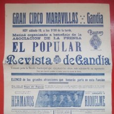 Carteles Espectáculos: CARTEL CIRCO GRAN CIRCO MARAVILLAS GANDIA HERMANOS RIQUELME SARASATE II C66. Lote 194592160