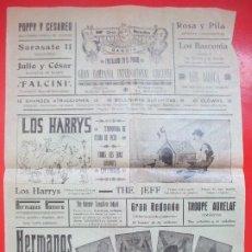 Carteles Espectáculos: CARTEL CIRCO GRAN CIRCO MARAVILLAS GANDIA 1930 HERMANOS RIQUELME LOS AROCA SARASATE II C67. Lote 194592258