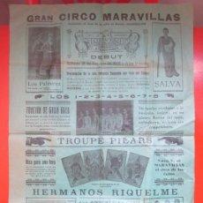 Carteles Espectáculos: CARTEL CIRCO GRAN CIRCO MARAVILLAS CASTELLON 1931 HERMANOS RIQUELME LOS AROCA LOS PALMIREZ C69. Lote 194593208