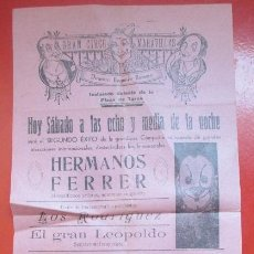 Carteles Espectáculos: CARTEL CIRCO GRAN CIRCO MARAVILLAS BURRIANA HERMANOS FERRER HNOS RIQUELME C74. Lote 194593983