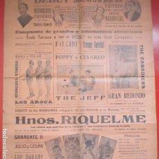 Carteles Espectáculos: CARTEL CIRCO GRAN CIRCO MARAVILLAS 1930 LOS AROCA HNOS RIQUELME C76. Lote 194694693